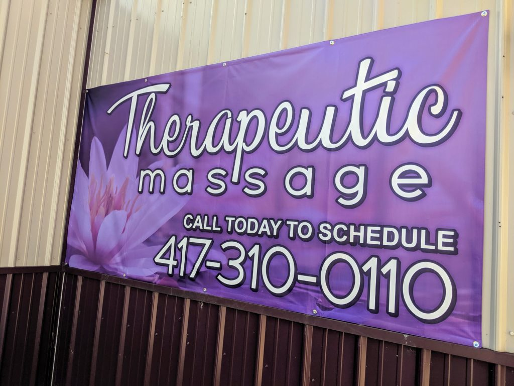 Banner for Nita Massage in Carthage, MO that says 'Therapeutic Massage. Call today to schedule 417-310-0110'. Print and design by netfishes.