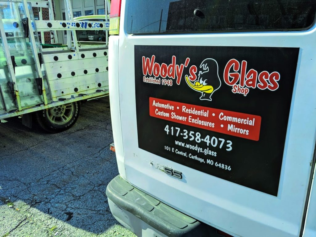 Car Magnets printed by netfishes of Carthage, MO for Woody's Glass Shop.